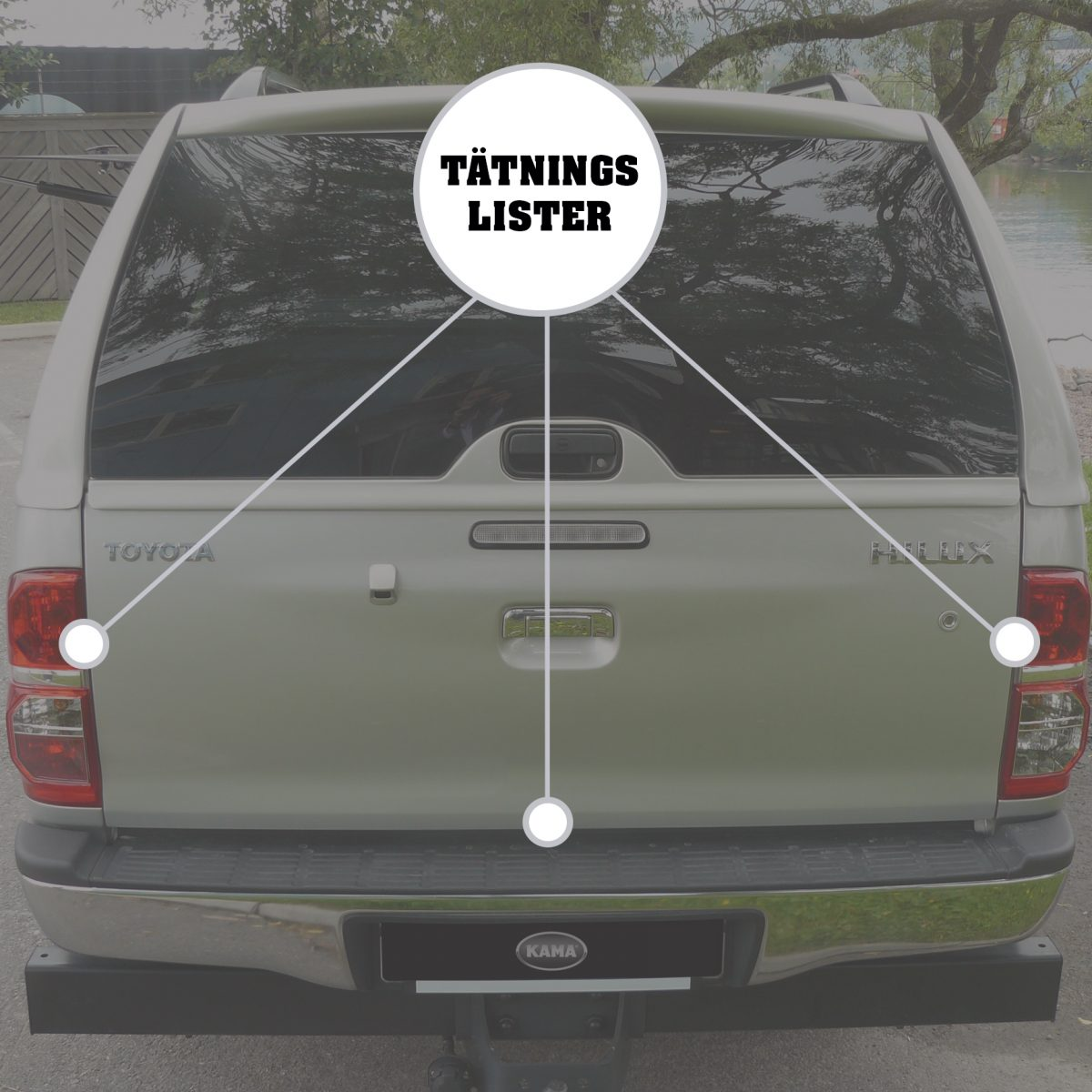 Tätningslist baklucka Toyota Hilux 16+-0